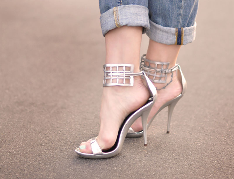 Caged Shoe Silver Sandals