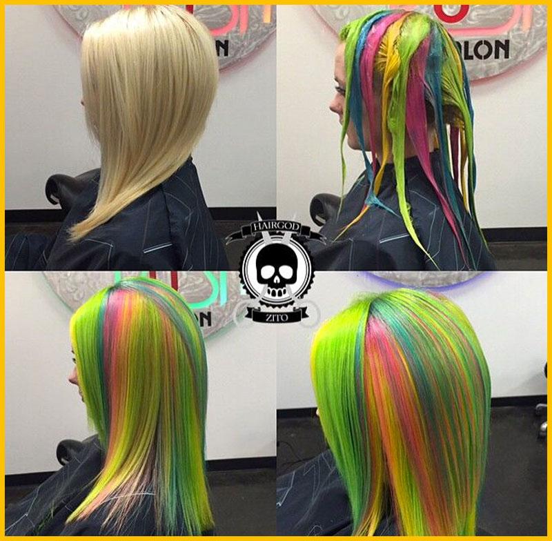Sour Skittles Neon Colored Mermaid Hair