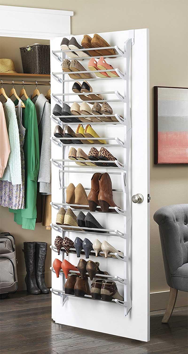 Adjustable Shelf Over-the-Door or Wall-Mounted Shoe Rack