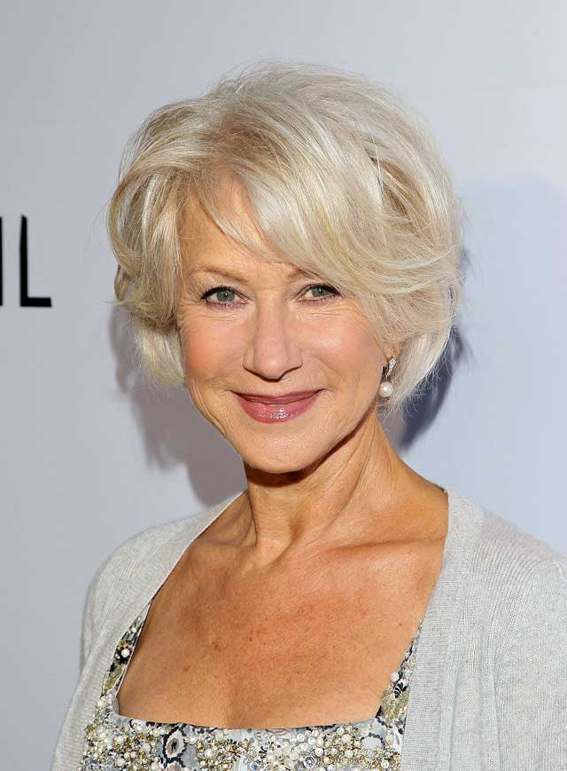 Helen Mirren's face framing layered bob haircut
