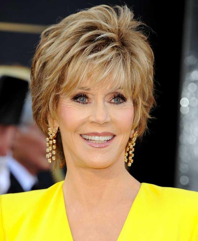 Jane Fonda's layered shag haircut