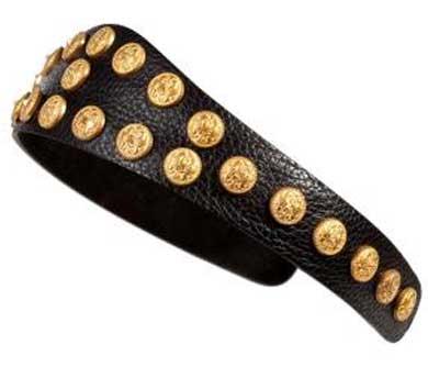 Valentino Embellished Textured-Leather Headband
