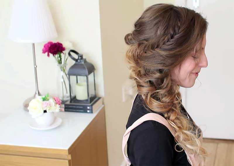 Updos For Curly Hair - Braided Curly Beauty