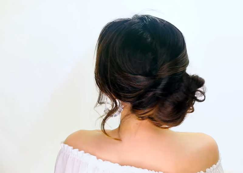 Curly, Messy Low Bun