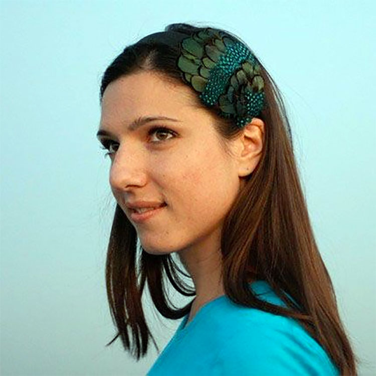 Lacy Blue and Green Feather Headband