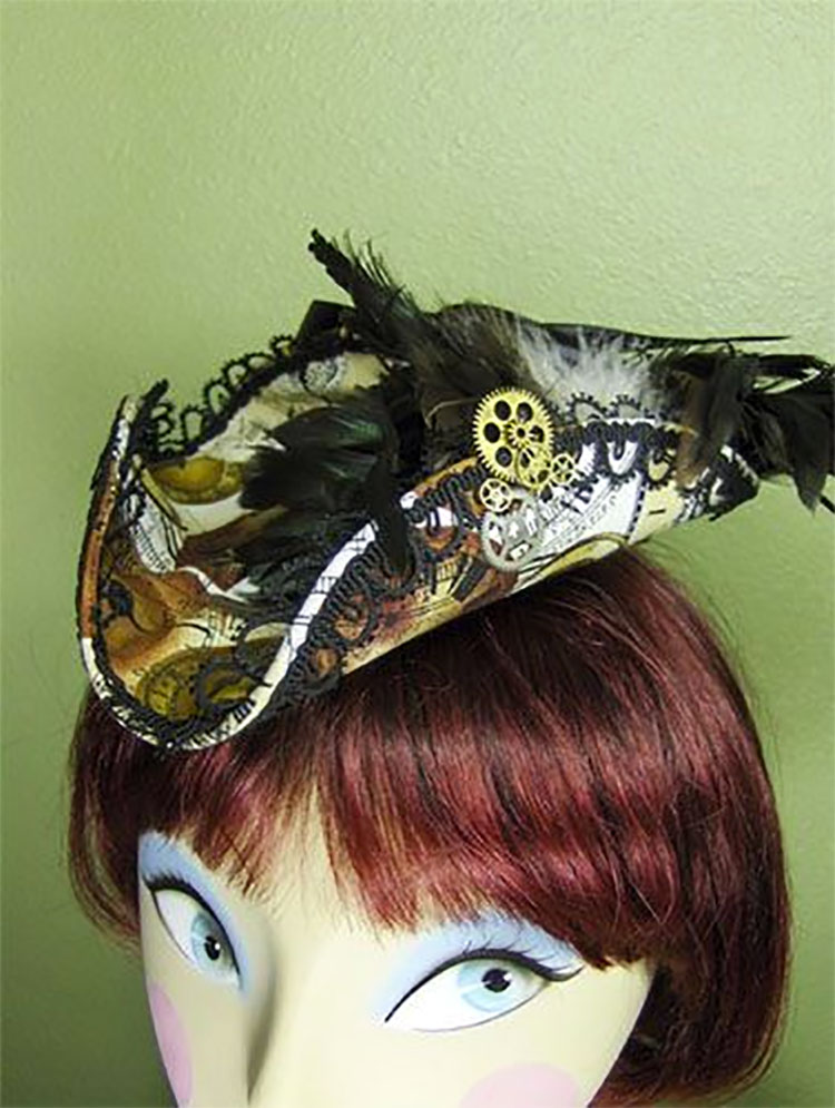 Steampunk Clockwork Mini Tricorn Hat