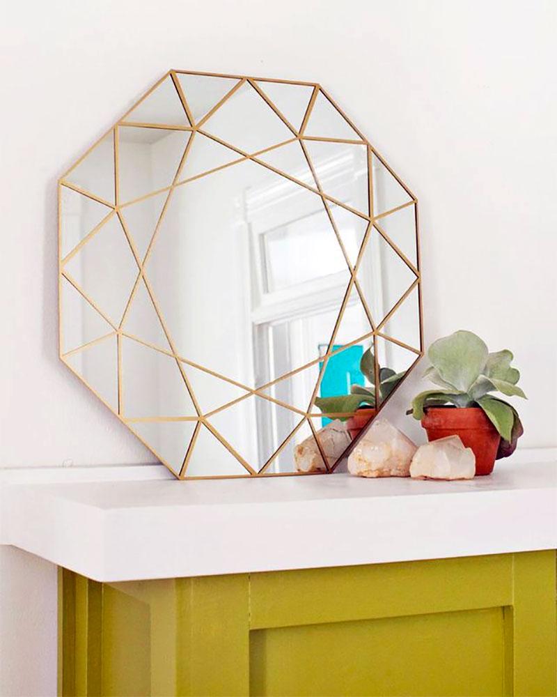 DIY Diamond Shaped Mirror