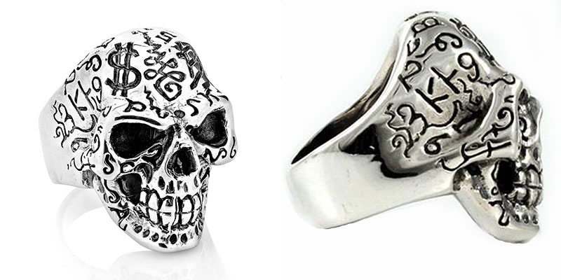 Skull Tattoos Design Silver Ring
