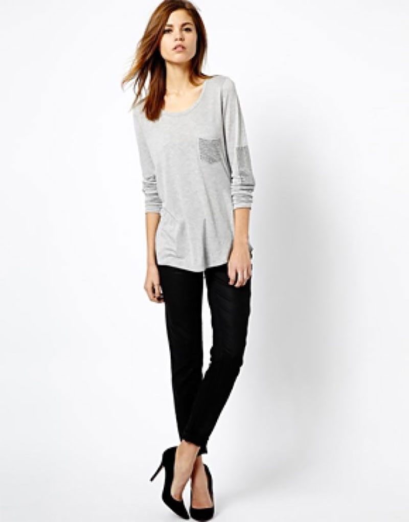 Coated Jeans and Lace Blouse