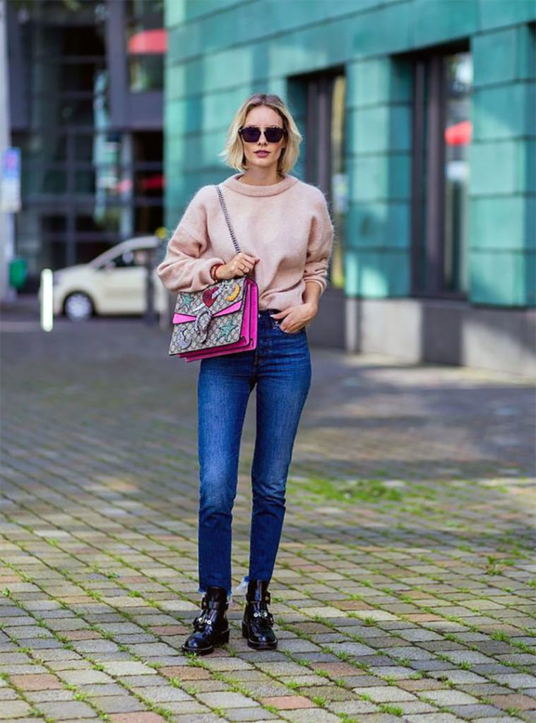 Pastel Sweater and Skinny Jeans
