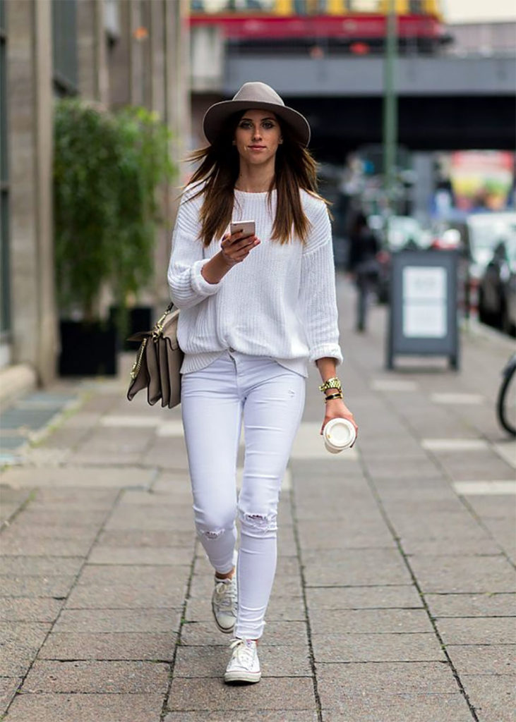 White Sweater and White Jeans