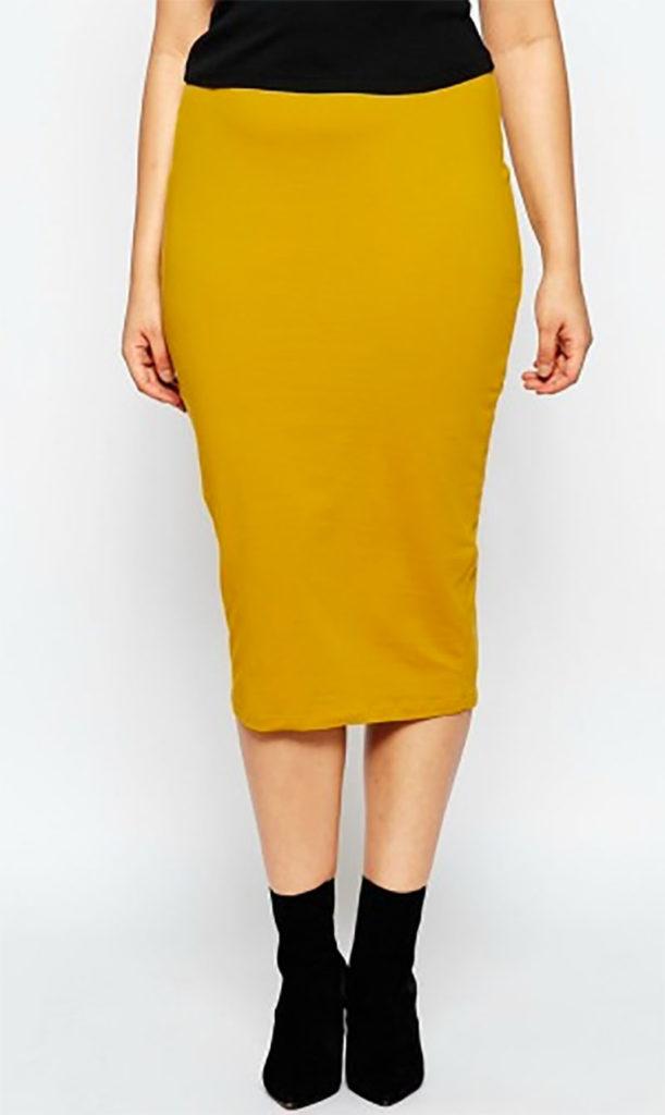 Midi Pencil Skirt Mustard Colored Clothing