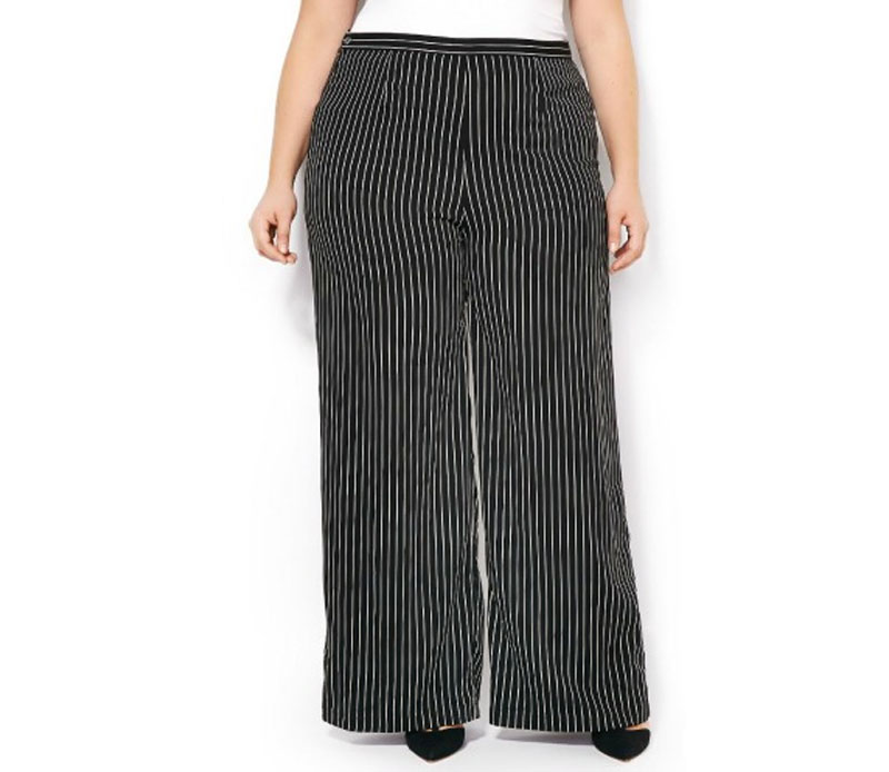Curvy Fit Striped Wide Leg Pant