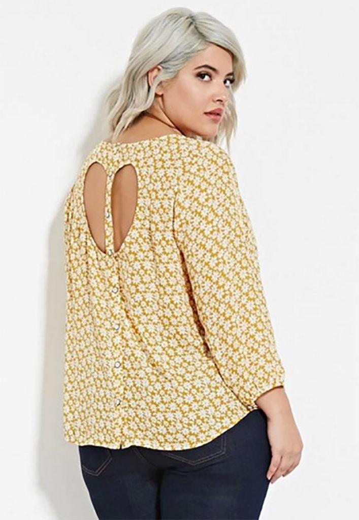 Daisy Print Cutout-Back Top