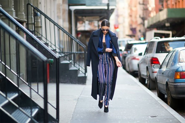 Plus-Size Striped Trousers