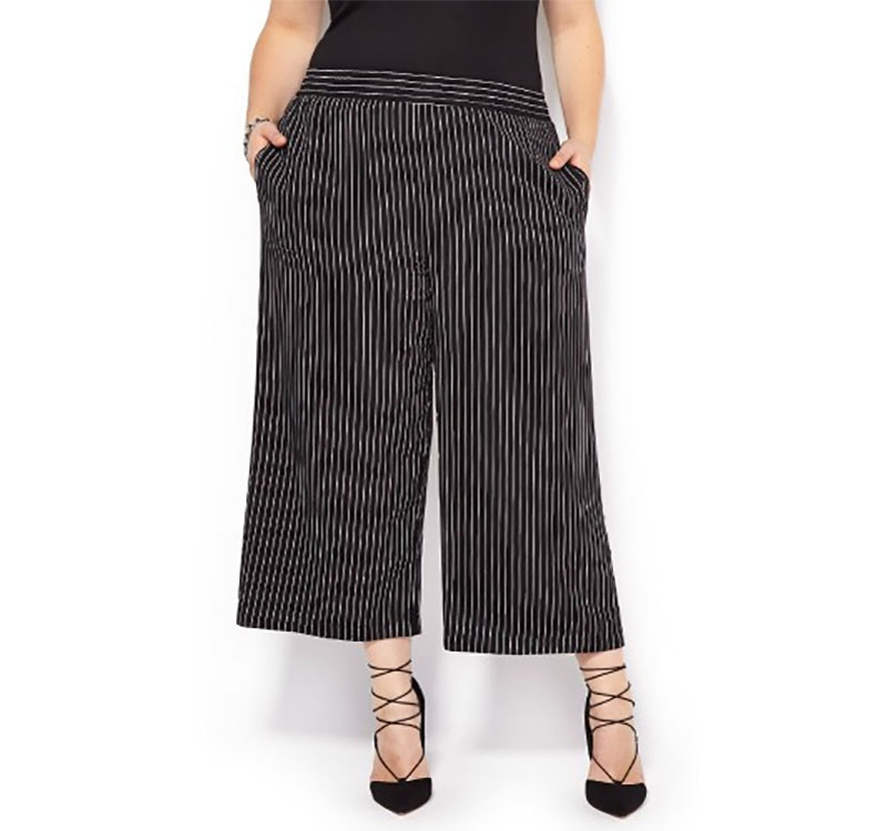 Striped Pull-On Culotte