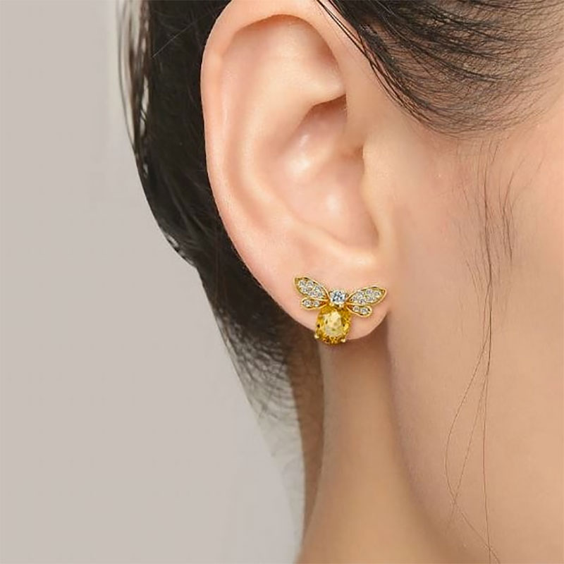 Chunky faceted citrine gemstone earrings