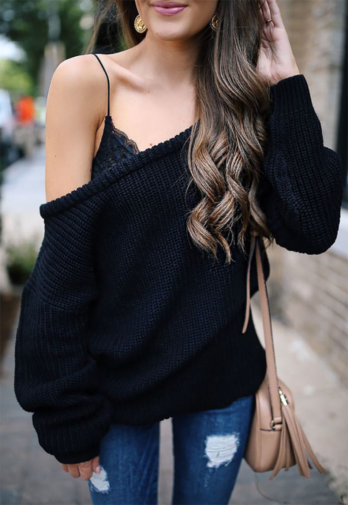 Off-the-Shoulder Sweater with Bralette