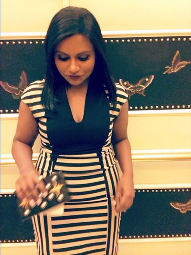 horizontal striped dress via mindy kaling instagram