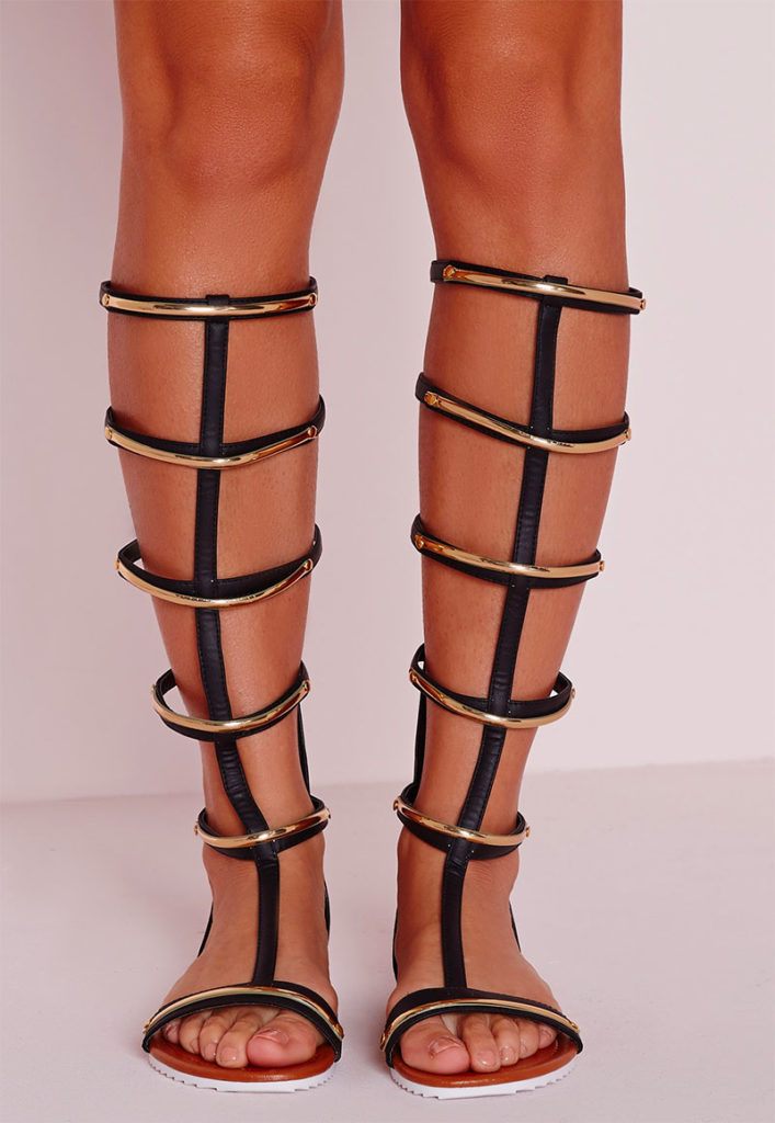 Gold Trim Knee-High Flat Sandals