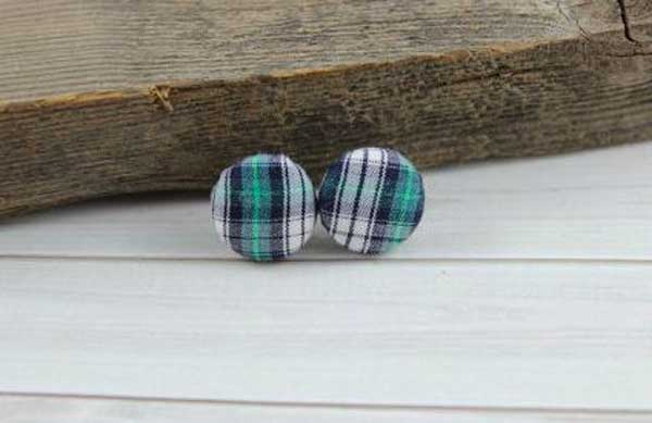 Plaid Shirt Button Earrings