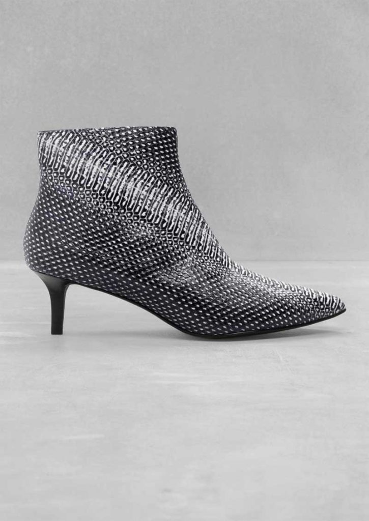 Reptile Texture Leather Ankle Boots