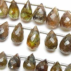 Andalusite from Brazil faceted drop briolette beads