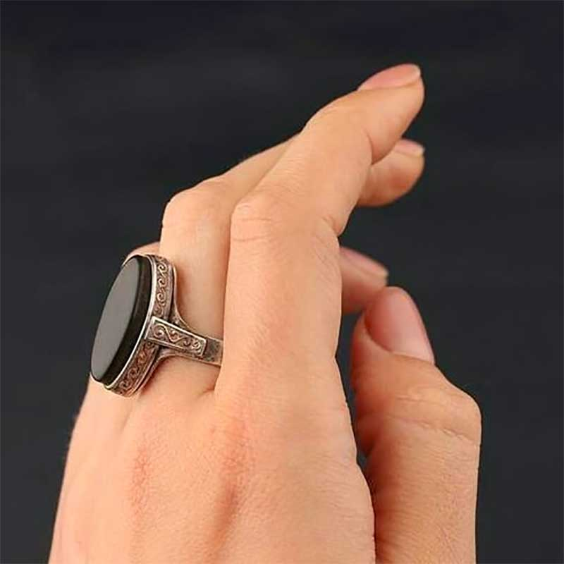 Signet ring with oval plate of black Jet.