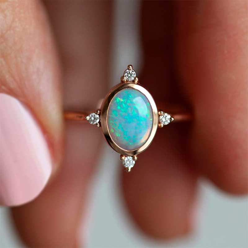 Oval Rose Gold Opal Ring