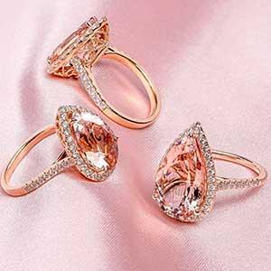 Pear Morganite Rings