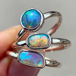 Sterling silver rings with Australian opals