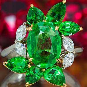 Tsavorites and diamonds