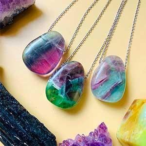fluorite pendant necklaces