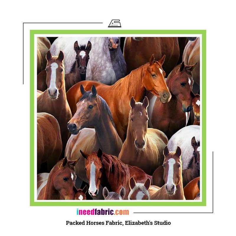 Packed Horses Fabric, Elizabeth's Studio