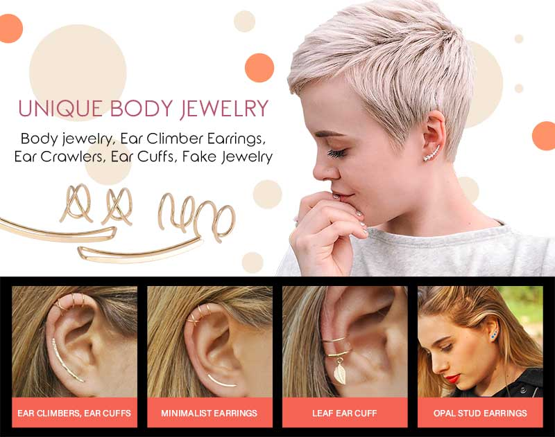 Body Jewelry, Earrings, Ear Cuff Crawler Hoops