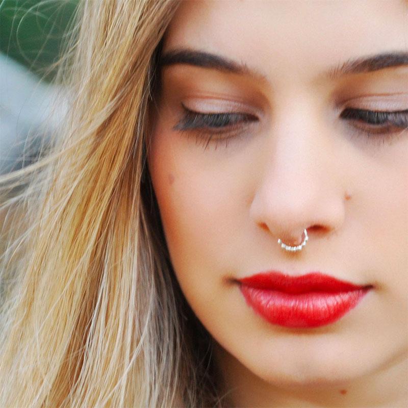 Fake Nose Ring - Fake Piercing - Sterling Silver Beads