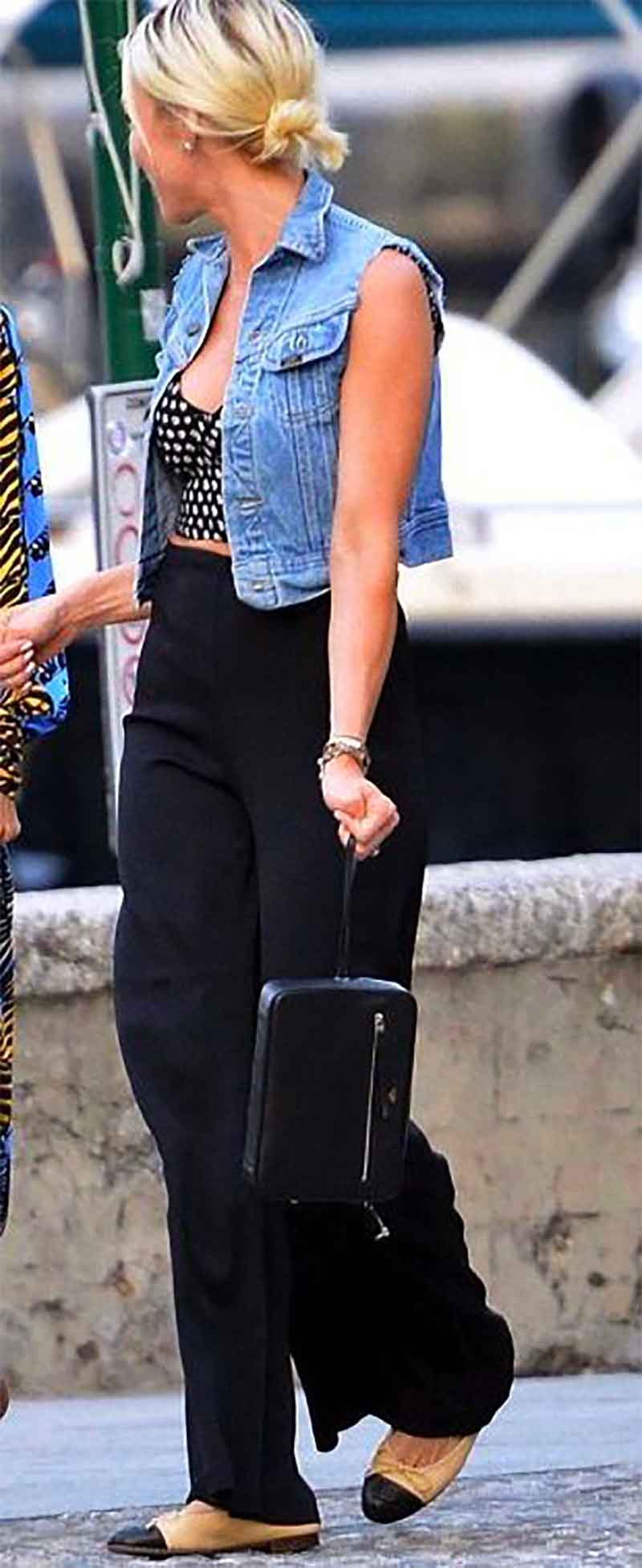 layer with a denim vest