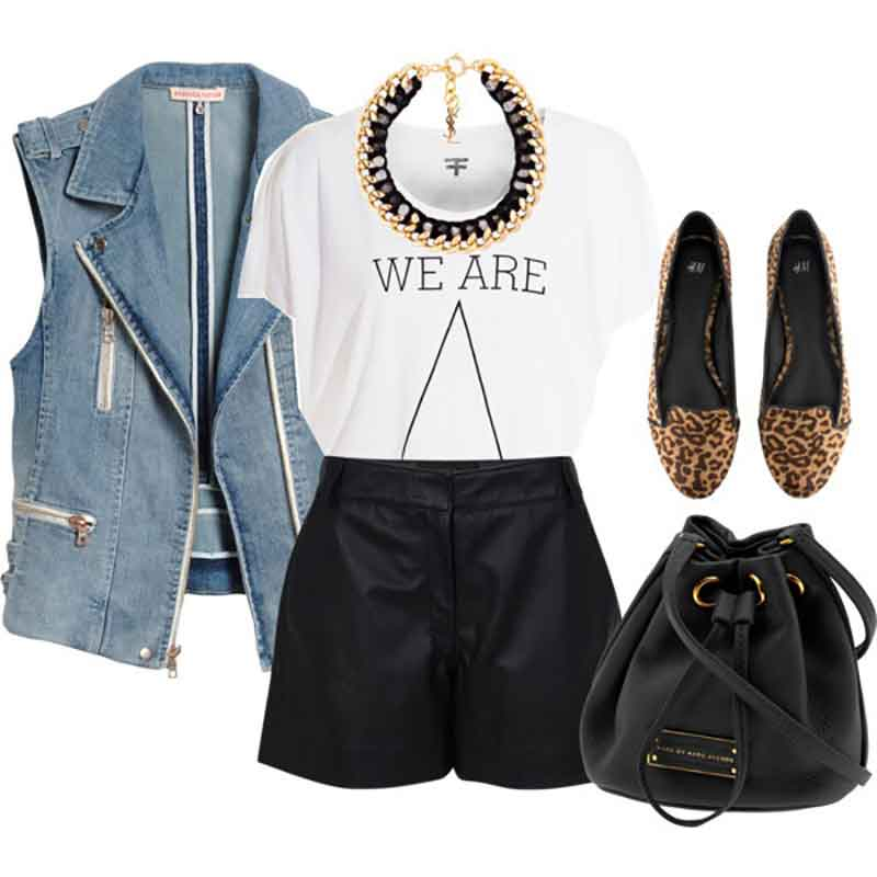 wear it with a statement necklace and leather shorts