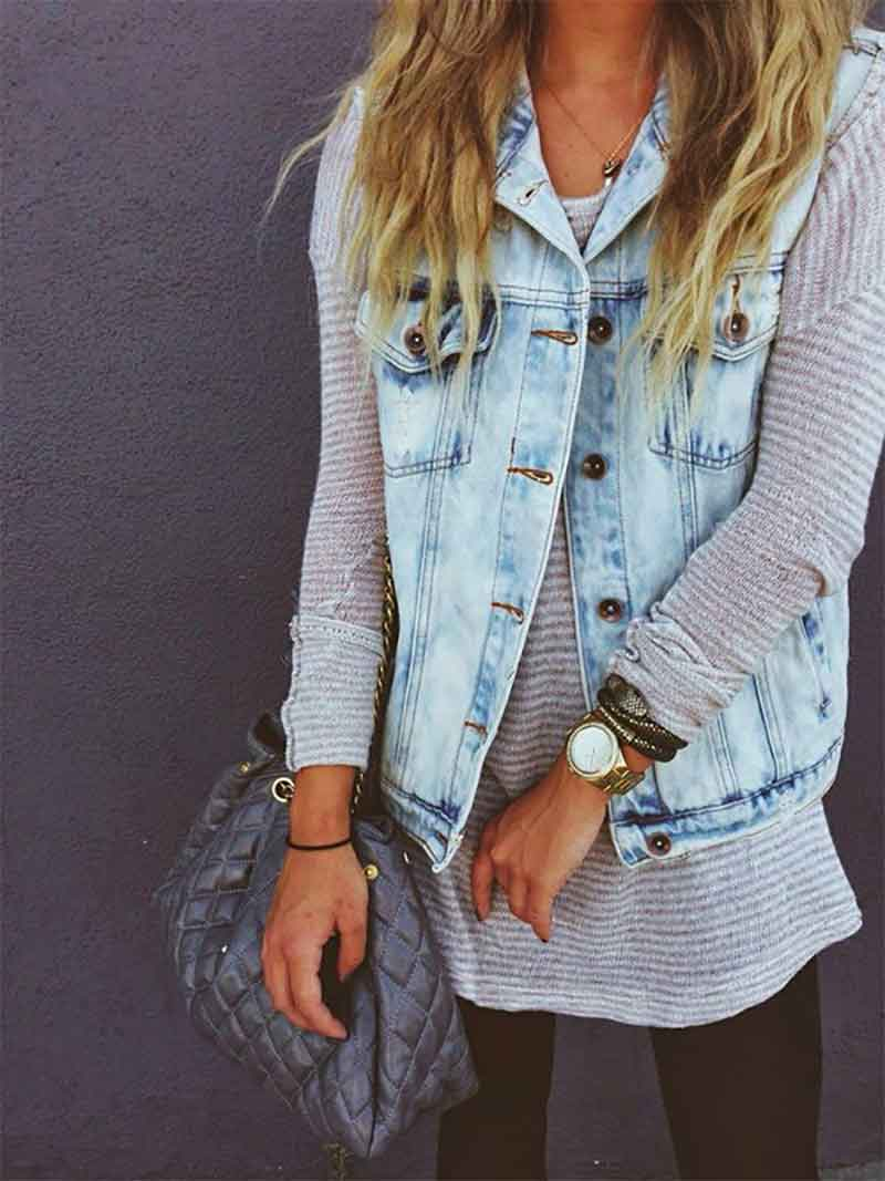 wear your vest over a cozy sweater