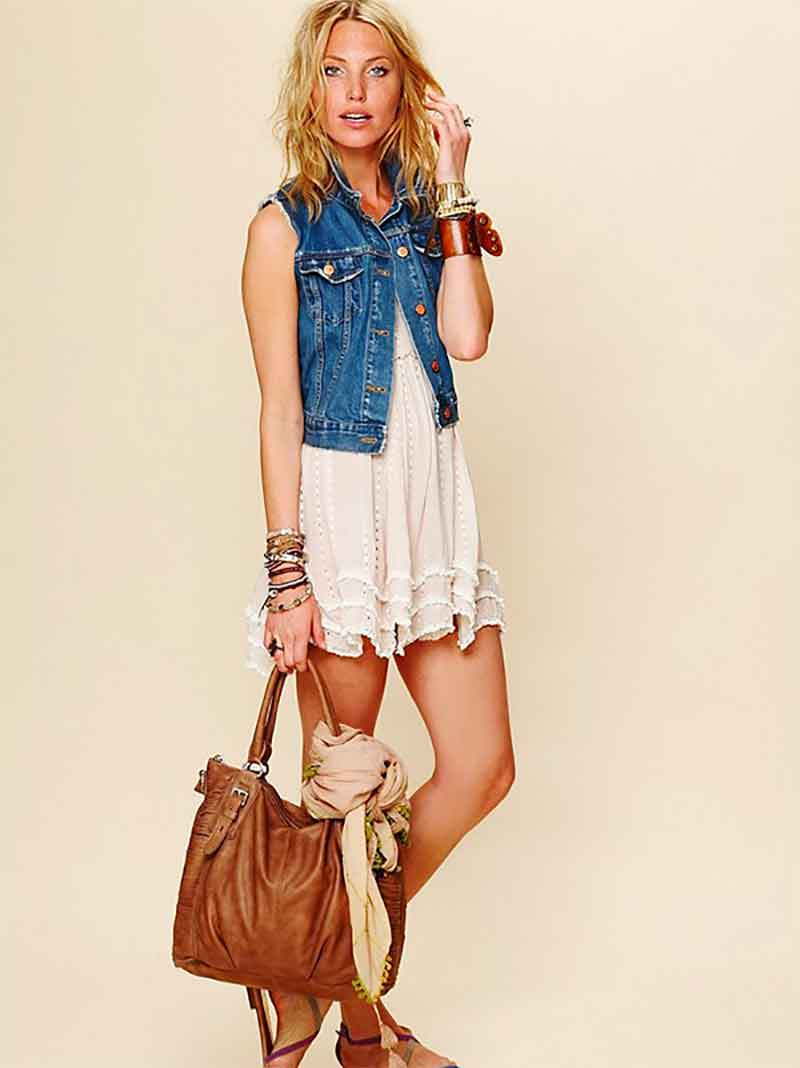 wear your vest over a white lace dress