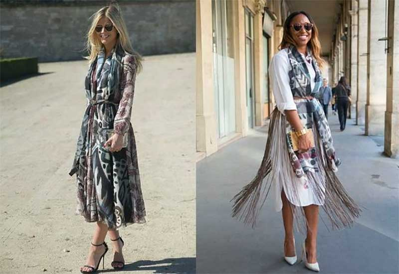 Try Belting Your Scarf Over a Dress