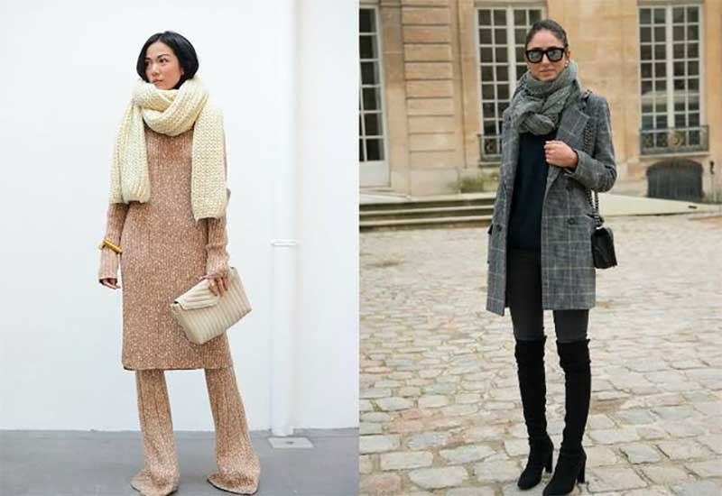 Wear a Chunky Scarf With a Monochromatic Look