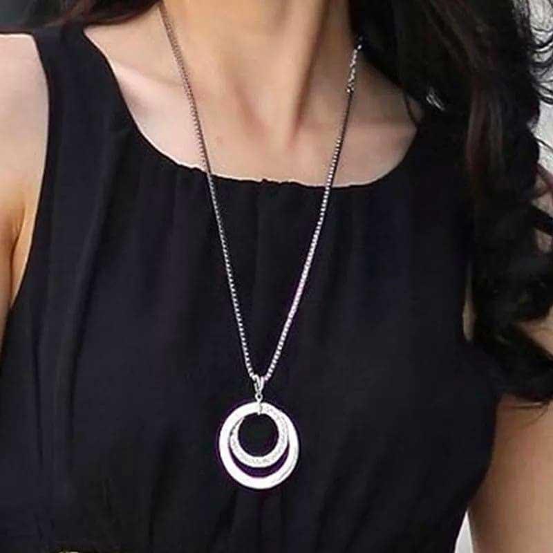 Rhinestone Circles Pendants Long Chain Sweater Necklace