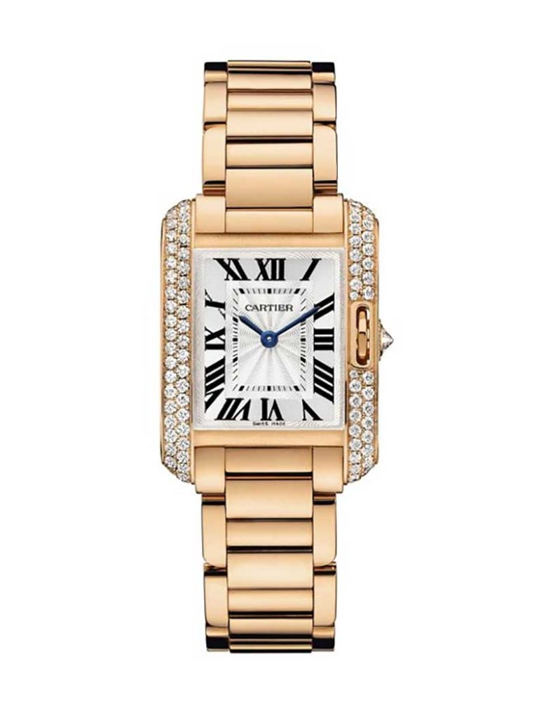 Tank Anglaise Petit Modèle watch, watchcase, band and clasp in 18k rose gold.