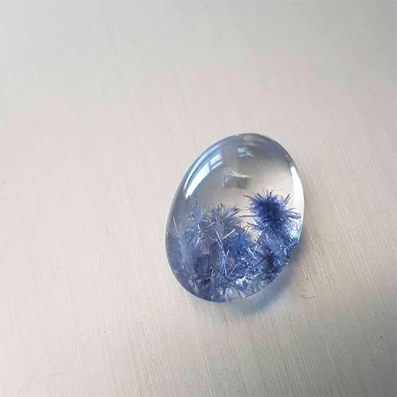 Natural Blue Dumortierite in Quartz