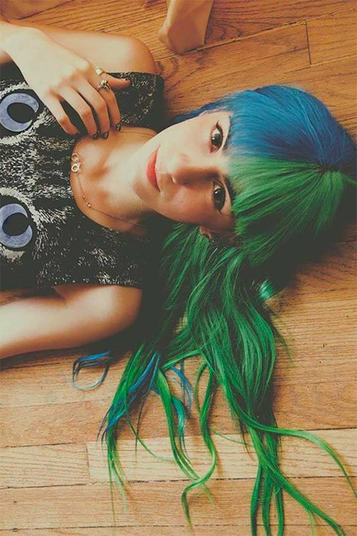 Half-And-Half Hair Colors: Blue And Green Hair