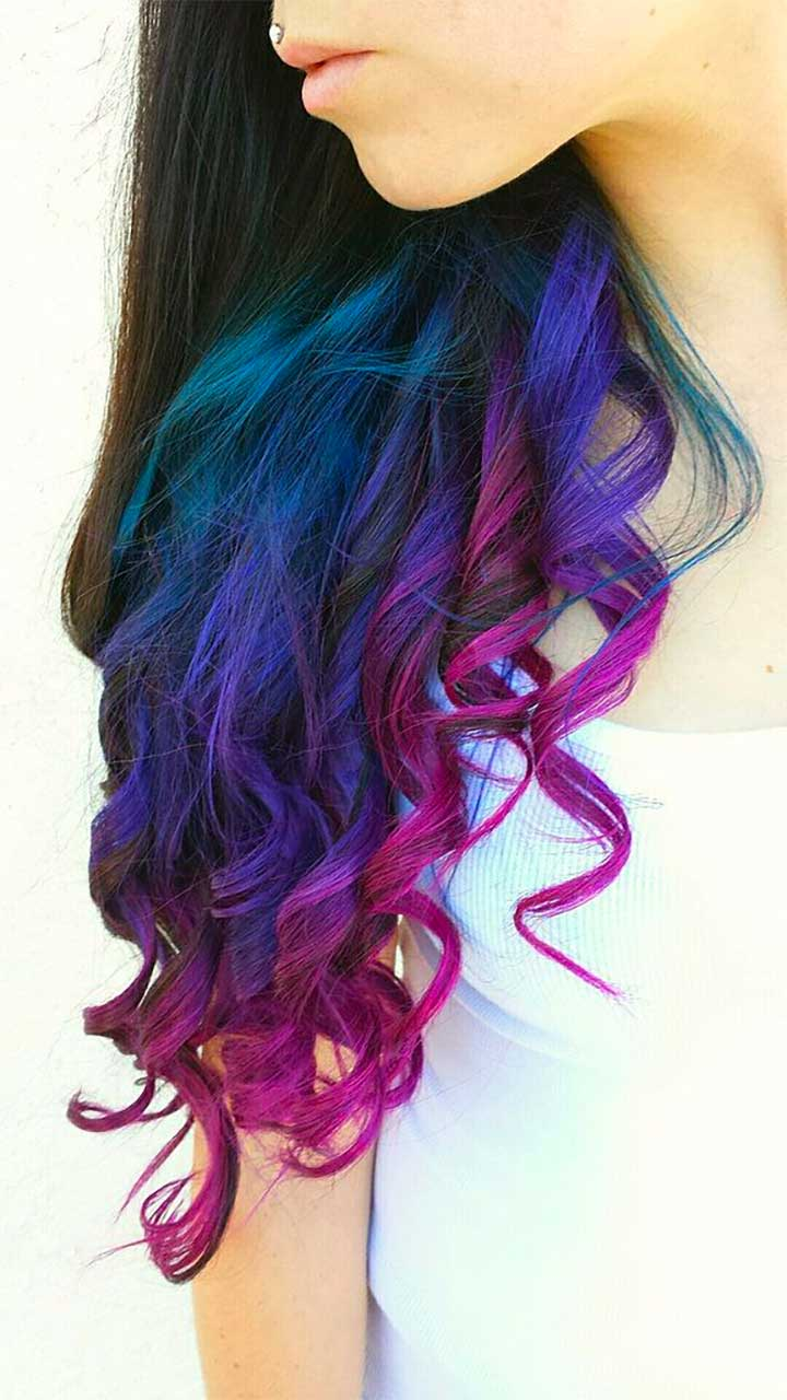 Blue And Purple Ends Hair Color