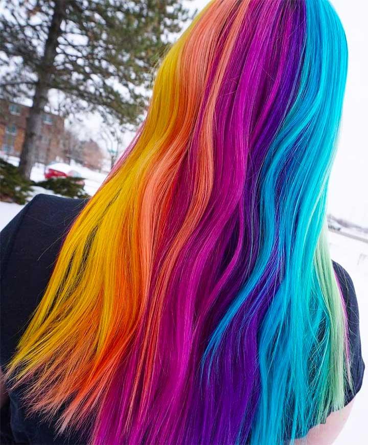 Rainbow Hair Color Ideas: Neon Rainbow Hair