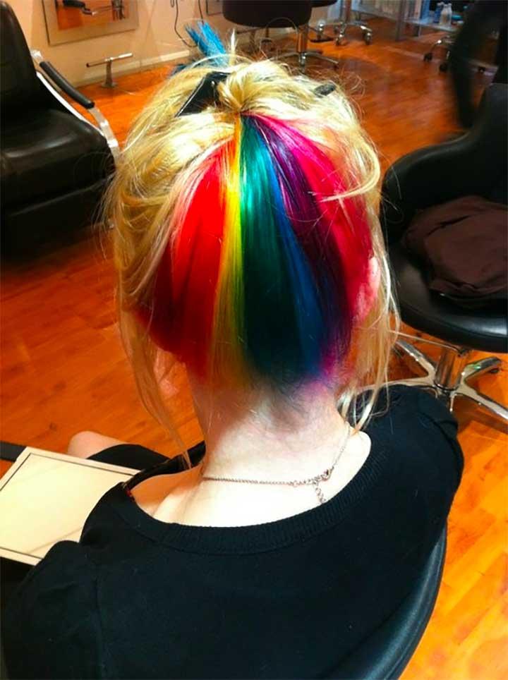Rainbow Back Hair Color