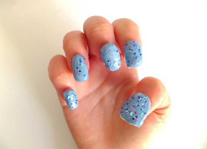 Bubble nails with regular nail polish